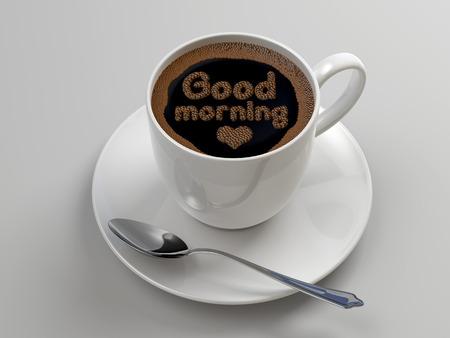 buena suerte: Taza de caf� 3d, concepto rom�ntico desayuno, buen mensaje de la ma�ana