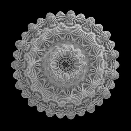fractal flower, abstract 3d background, rosette isolated on black photo
