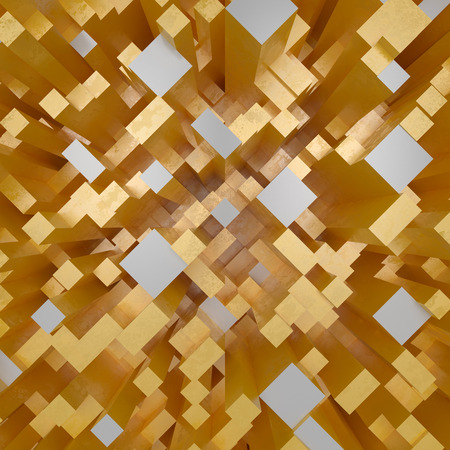 3d gold abstract geometric background with dynamic fragments