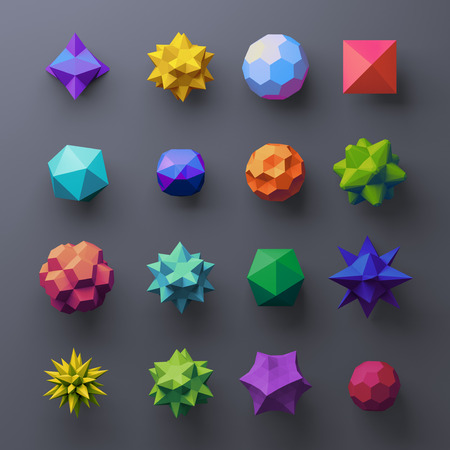 trigonometry: 3d mixed geometrical complex faceted shapes, colorful objects