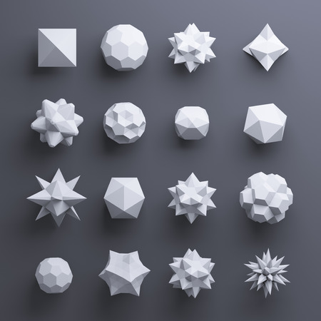 plato: 3d white abstract geometric polygonal shapes isolated on dark background