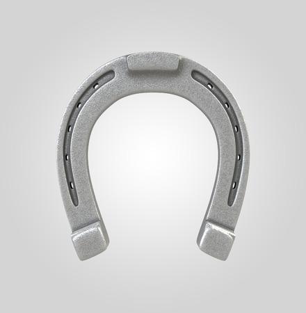 horse shoe: silver horseshoe, 3d metallic object isolated on white background