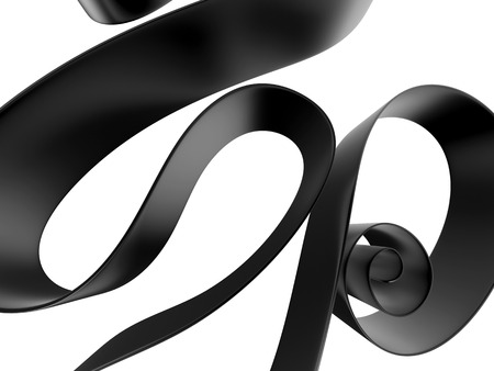 black silk: 3d abstract background with curled black ribbon