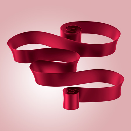 curled: 3d abstract red curled ribbon, announcement placard, commercial message banner Stock Photo
