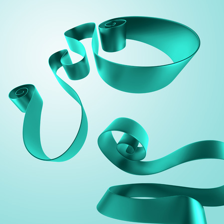 3d abstract green festive ribbons, curled commercial design elements photo