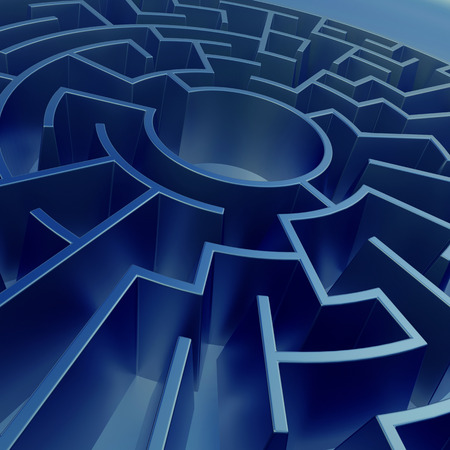 pitfall: 3d blue abstract round maze background, perspective view