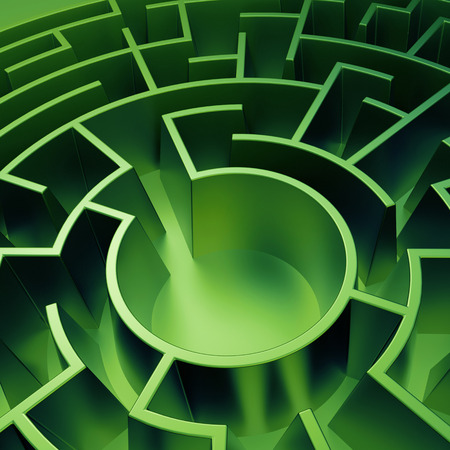 labyrinth: 3d round green maze background, abstract labyrinth