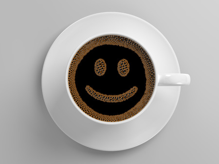 breakfast smiley face: cup of coffee with happy smiling face