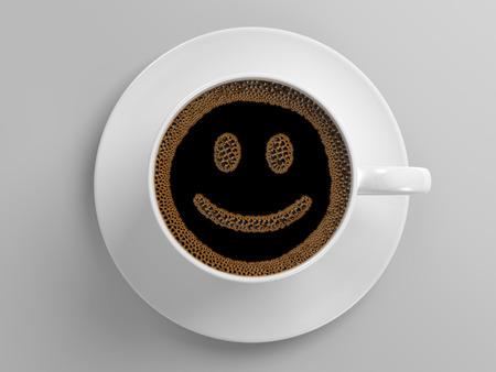 Tasse Kaffee mit glücklichen lächelnden Gesicht