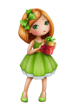 redhead woman: cute redhead girl in green dress holding gift box, doll illustration isolated on white background