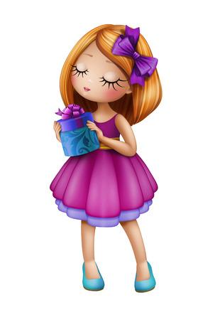 ギフト用の箱、白い背景で隔離の人形図を保持している紫色のドレスを着てかわいい赤毛の十代の少女