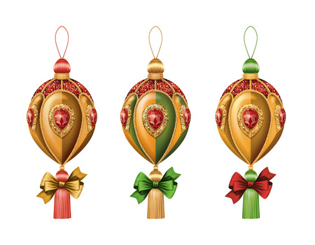 Christmas festive ornaments isolated on white background photo