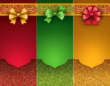 Christmas backgrounds, festive labels, blank banners, gift cards or tags set, illustration illustration