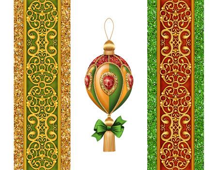 molding: Christmas festive ornaments isolated on white background, holiday design elements set, ball and bow illustration Stock Photo