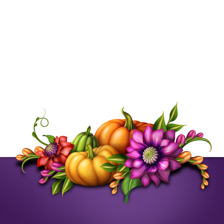 traditional seasonal decoration with pumpkins and flowers photo