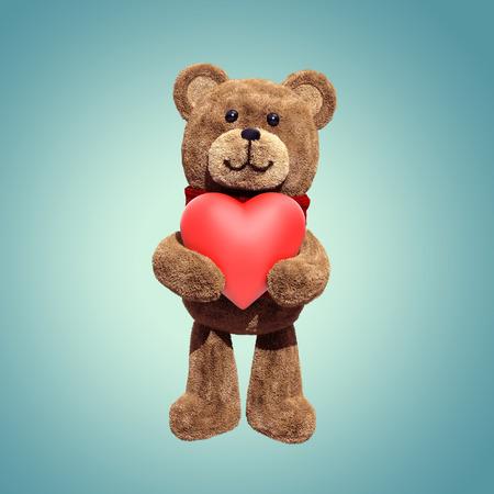 cute teddy bear toy holding heart, 3d cartoon character photo