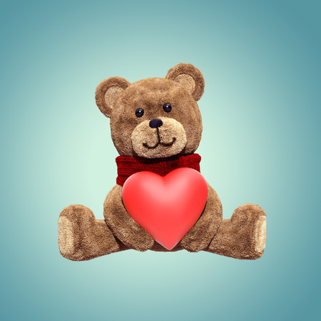 cute teddy bear toy sitting, holding heart, 3d cartoon character
