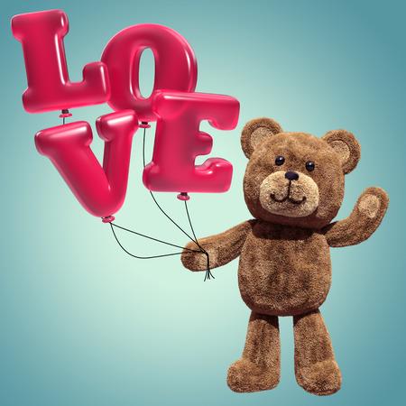 sentiment: cute teddy bear toy, 3d cartoon character holding air balloons, love message Stock Photo