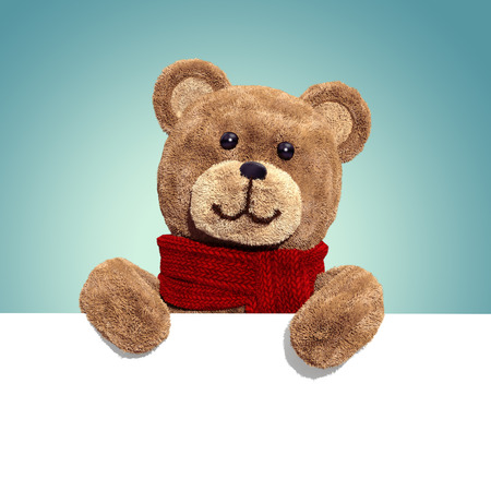toy bear: cute teddy bear toy, 3d cartoon character holding white card