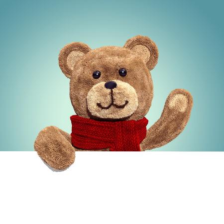toy bear: cute teddy bear toy, 3d cartoon character holding banner Stock Photo
