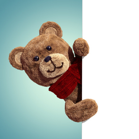 cute teddy bear toy, 3d cartoon character holding blank page 写真素材