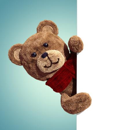 빈 페이지를 들고 귀여운 테 디 베어 장난감, 3D 만화 주인공 스톡 콘텐츠