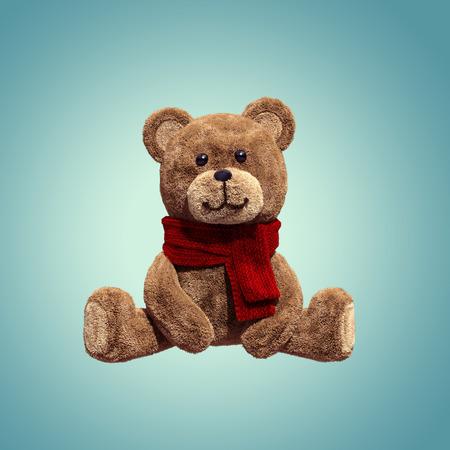 귀여운 곰 장난감 앉아, 3D 만화 주인공