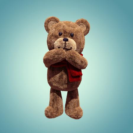 amused: cute teddy bear toy amused, 3d cartoon character