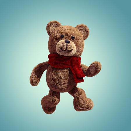 cute teddy bear toy walking, 3d cartoon character photo