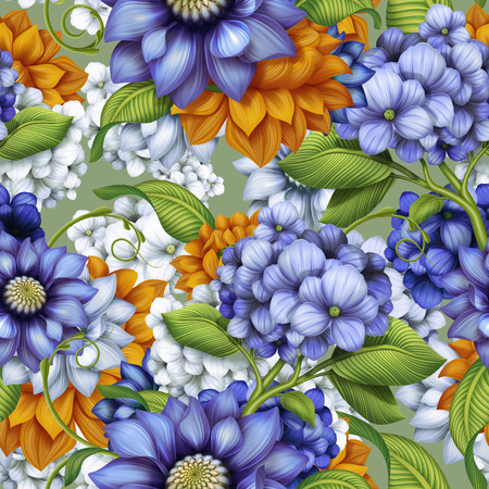 decorative floral seamless background, autumn flowers and leaves pattern, illustration illustration