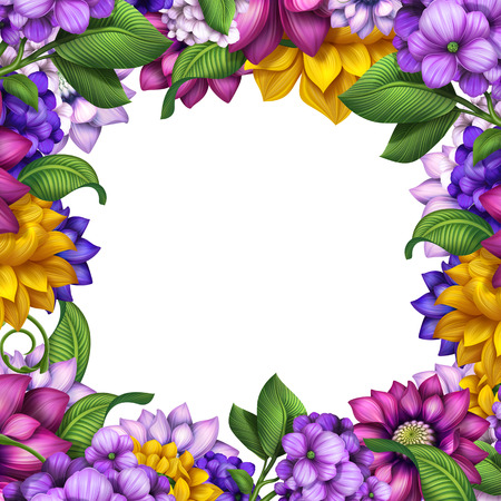 colorful square floral frame isolated on white, assorted flowers illustration illustration