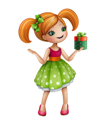 happy redhead girl in green dress holding gift box, doll illustration isolated on white background illustration
