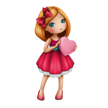 cute redhead girl in red dress holding pink heart, little doll isolated on white background, Valentines day illustration illustration