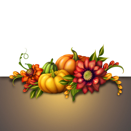 traditional seasonal decoration with pumpkins and flowers, festive autumn illustration, holiday background illustration