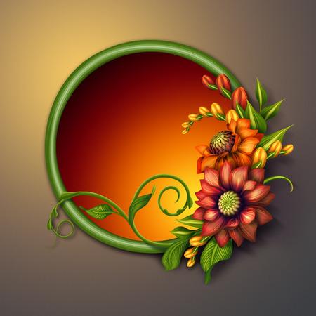autumn colorful flowers arrangement, round floral banner, seasonal greetings illustration illustration