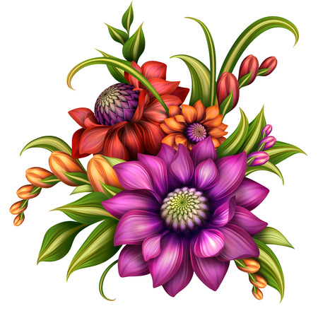 autumn colorful flowers arrangement with green leaves, illustration isolated on white background Standard-Bild
