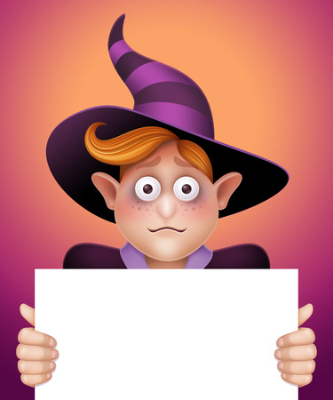 halloween greetings: confused wizard boy holding blank message board, Halloween template illustration