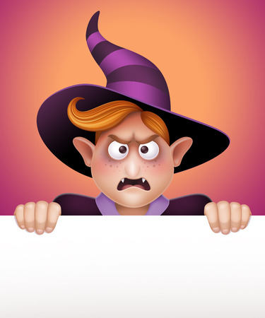 angry wizard boy holding blank message banner, Halloween template illustration illustration