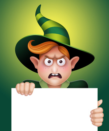 angry wizard boy holding blank message board, Halloween template illustration illustration