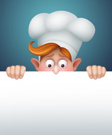 cook boy behind the message board, restaurant menu template, cartoon character illustration