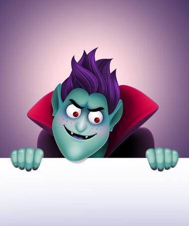3d vampire: Dracula holding blank banner, frown vampire illustration, Halloween background