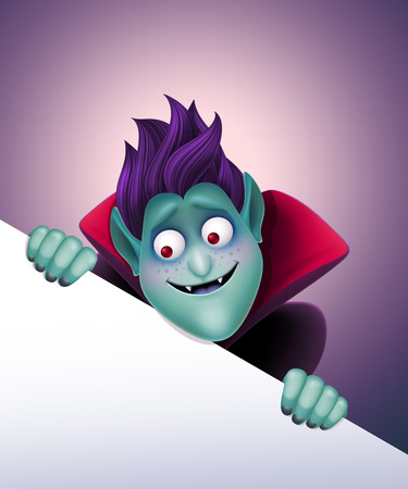 3d vampire: funny Dracula holding blank page, evil vampire, Halloween template illustration Stock Photo