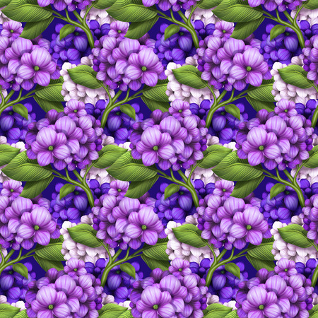 decorative floral seamless pattern, purple hydrangea flowers background, illustration illustration