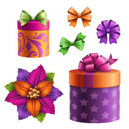 x mas parties: festive gift boxes and bows, set of holiday clipart objects, illustration isolated on white background
