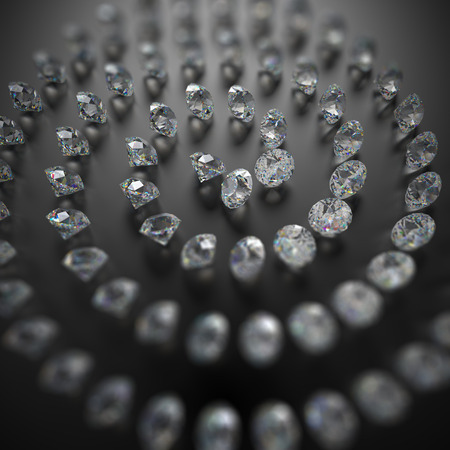 brilliants: 3d clear brilliants and diamonds spiral on black background