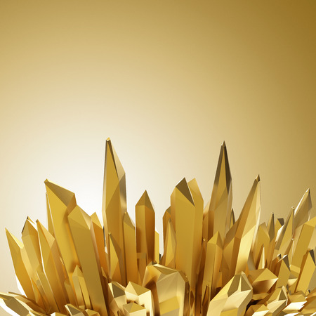 3d abstract gold crystal background, macro texture, design element photo