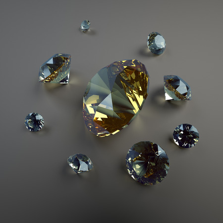 crystalline gold: 3d jewels on dark background