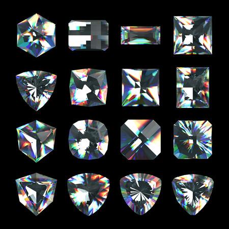 3d crystals, assorted cut gemstones, clear jewels, diamonds and brilliants photo