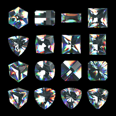 asscher cut: 3d crystals, assorted cut gemstones, clear jewels, diamonds and brilliants