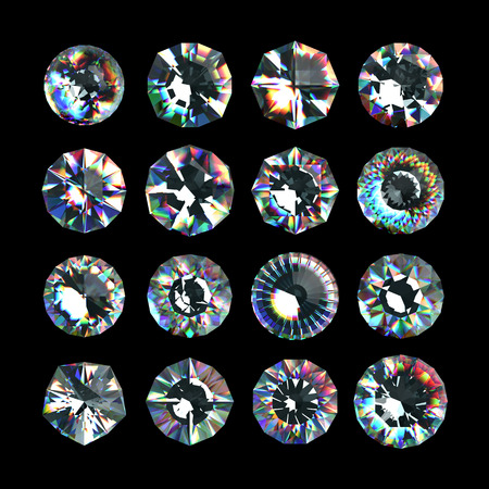 3d crystals, assorted cut gemstones, clear jewels, diamonds and brilliants photo